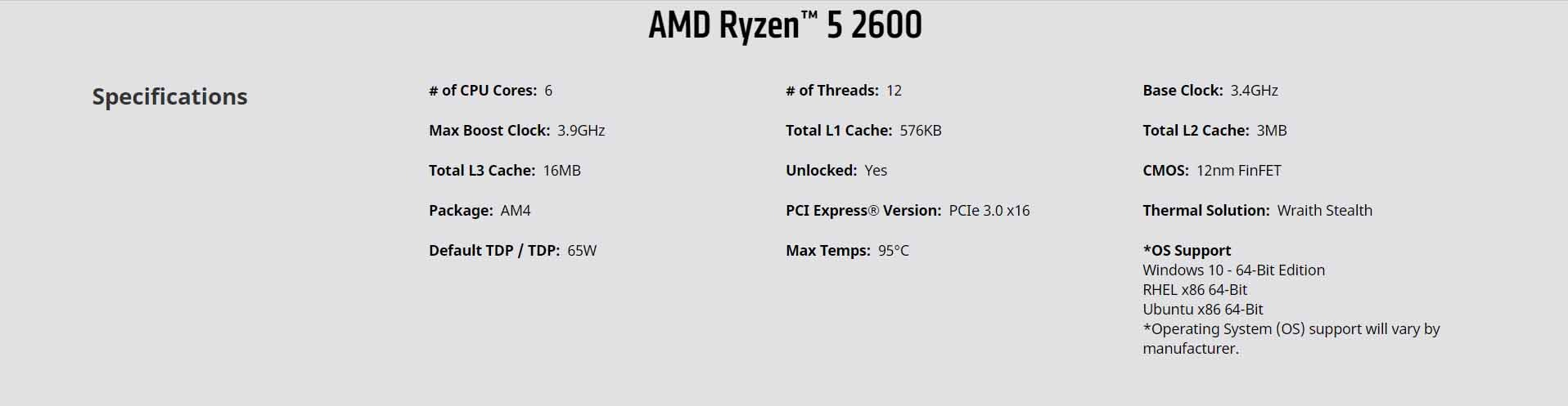 AMD Ryzen 5 2600, with Wraith Stealth cooler